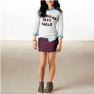 AEO | Paneled geometric macrame print mini skirt